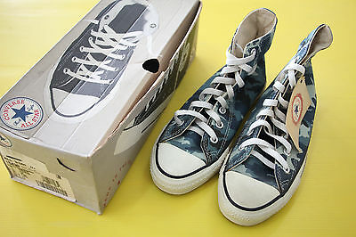 90S' Converse All Star Sky Blue Camouflage Deadstock Sz5 Made in USA with box