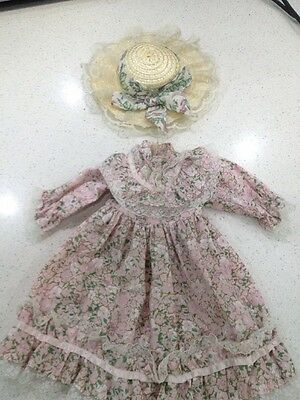 Vintage Doll Dress And Hat Pink