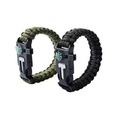 ER 5 in 1 Multifunction Whistle Outdoor Survive Guide Hand Bracelet