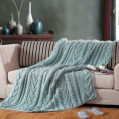 100% Handmade Super Soft Acrylic Knitted Blanket Bedspread Throw Rug Silver Blue