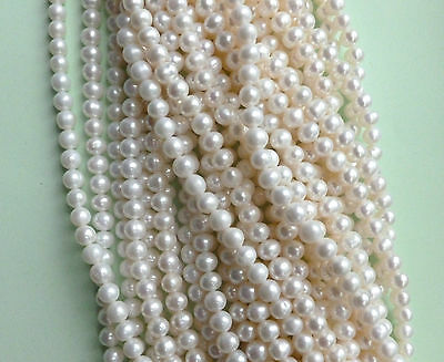 Pearls (Almost Round) Natural Freshwater Cultured 6-7mm A Grade Natural White