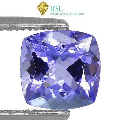 2.555Cts Igl Certified Natural Bluish Violet Tanzanite Square Cushion Gemstone