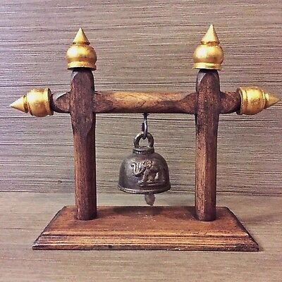 Antique Rare The Bell Buddha Amulet Clapper Sound Temple Hanging Old Famous #2