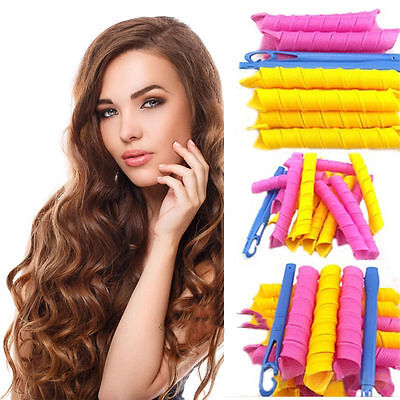 40pcs 55cm Magic Leverag Hair Curlers Tool Styling Rollers Spiral Circle UK