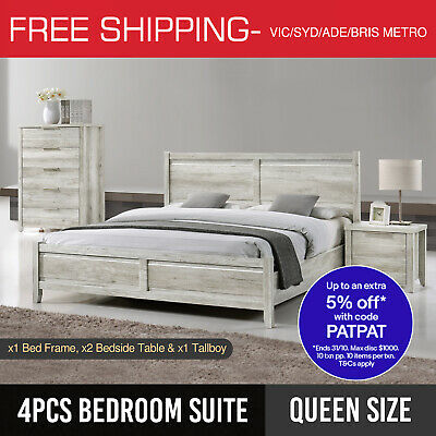 Queen Bedroom Suite MDF Bed Bedside Tallboy Aesthetic Legs 4pcs White Ash Alice