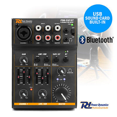 Power Dynamics 172.603 USB Mixer Audio Interface with Bluetooth