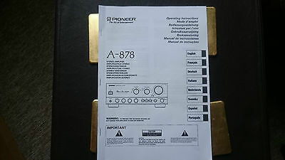 Pioneer A-878 Reference Stereo Amplifier Operating Instructions User Manual