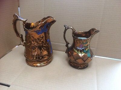 Mixed Pair Vintage Gold Lustre Jug with Hand Painted Decoration