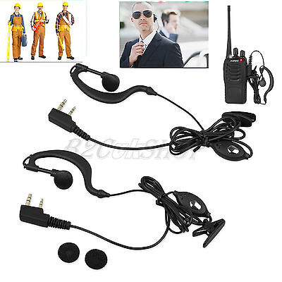2PCS Security G-Shape Headset/Earpiece Mic 2Pin For Radio Baofeng Walkie Talkie