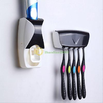 5 Toothbrush Holder Wall Mount w/ Automatic Toothpaste Dispenser Squeezer Set