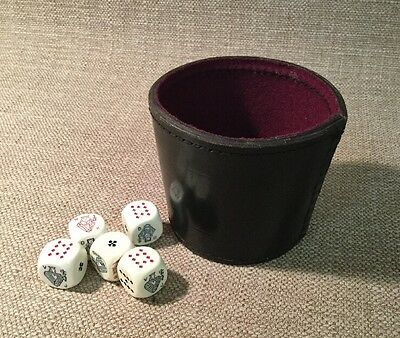 Vintage 5 Bicycle 16Mm Poker Dice With Leather Cup