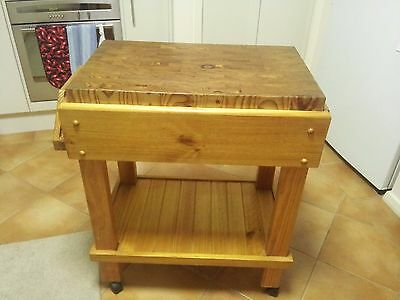 Timber Butchers Block Kitchen Cutting Island Trolley - Shepparton 3630