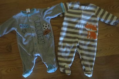 Baby Essentials & Carter's 2 Baby Boys Blankets Sleepers Size 6 Months Euc!