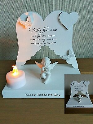 Angel Wings memorial/grave marker  tea light candle holder mothers day/birthday