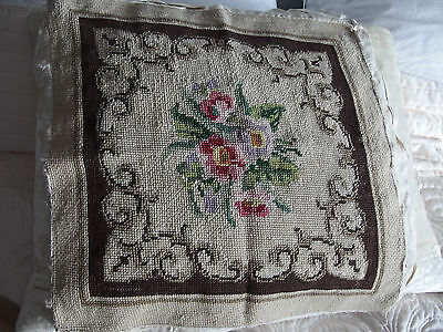 Vintage hand worked tapestry cushion front or picture
