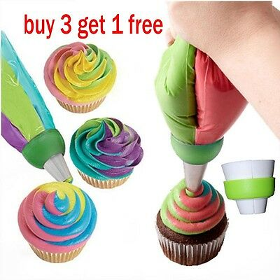 3-Color Icing Piping Bag Russian Nozzle Converter Coupler Cake Cream Decor
