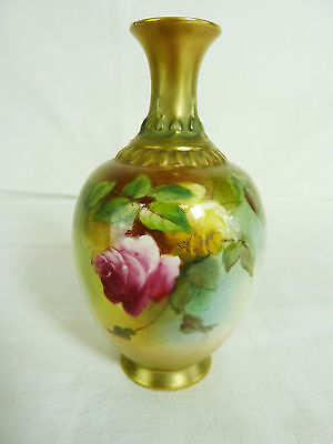Royal Worcester Hadley Roses Hand Painted Vase      #wo#