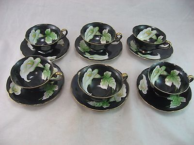 Vintage SHOFU China Tea Cups and Saucers Black W/White Flowers Set of 6