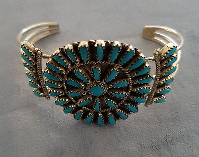 New!sterling Silver & Turquoise Navajo Needlepoint Native American Bracelet