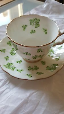Aynsley Shamrock Tea Cup and Saucer Green Clovers on White