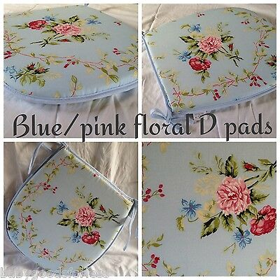 blue pink floral d shape seat pads x4 cushions chair kitchen/dinning room/patio