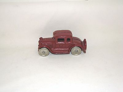 """Arcade? Kenton? Ac Williams? Antique Cast Iron Red Coupe, Old Toy Car, 4 3/8"""""""