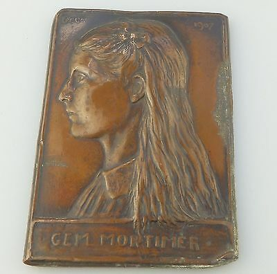 Antique Bronze/Lead : An unusual Plaque of a young girl C.1907