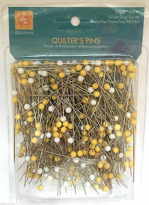 EZ Quilting 500x Quilters Pins White Yellow Pin Heads Sharp Fine Crafts Sewing