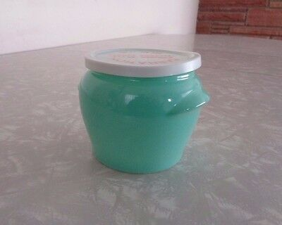 Vintage Carnation Farmer Style Cottage Cheese Jar Aqua Green ~ Dairy Farm