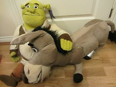 """Large Shrek The Third 26"""" High And Donkey The Second Dreamworks Soft Toys Lot"""