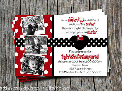 Custom Minnie or Mickey Mouse Red & Black Polka Dot Birthday Party Invitation