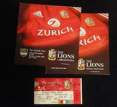 Rugby Union.the Lions 2005 Tour Guide And Programme & Ticket V Argentina.