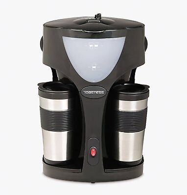 Toastess Twin Coffee Maker - Two Stainless Steel Thermal Travel Mugs