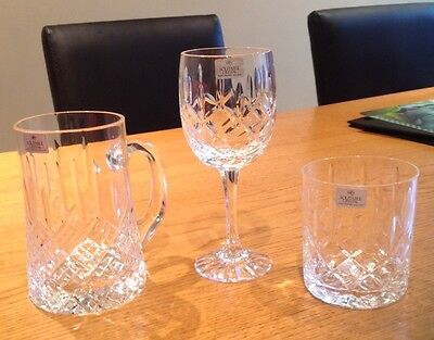 SOLITAIRE Crystal Glasses x 3