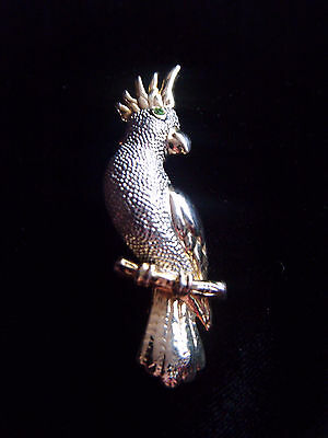 Beautiful gold and silver tone cockatoo, cockatiel, parrot brooch