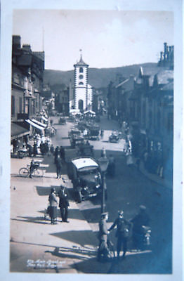 Old  Real Photo Postcard - Main Street ,keswick -Soldier-Policeman-Motorbike