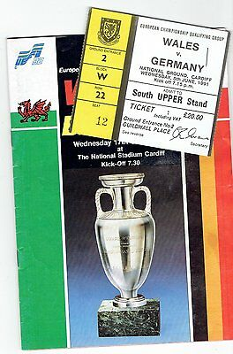 Wales v Belgium Euros Qualf Oct 1990 PLUS Germany ticket 1991