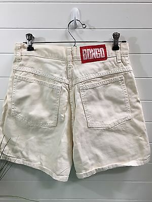 "VTG 90s BONGO CREAM HIGH WAISTED WOMEN'S DENIM JEAN SHORTS SZ 11 28"" WAIST"