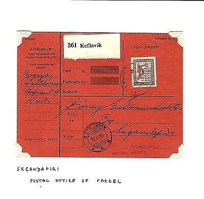 Island Iceland parcel postage notice card  (A758)