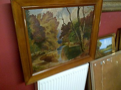 Fine Late 19th c, Framed French Oil on Canvas. Forest Pool View. Signed.