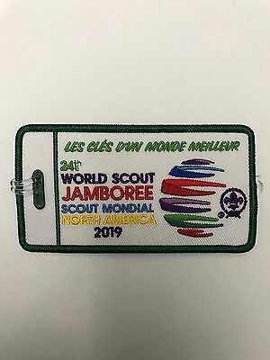 2019 World Scout Jamboree Promotion TAG Patch Green Border FRENCH