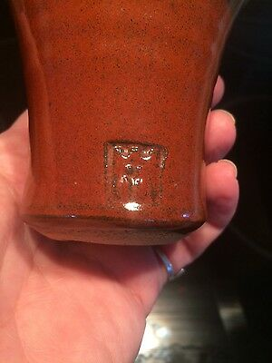 studio pottery small vase with stamp ?