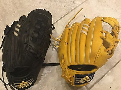2 x adidas youth/child baseball gloves black and yellow