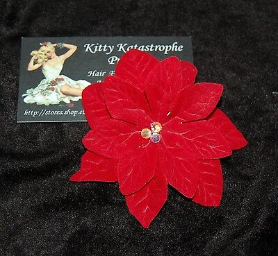 Pin-Up Rockabilly Red Poinsettia Crystal Centre Hair Clip