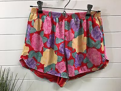 1980/90's Womens Pink Roses Nylon Running Shorts Sz 13/15 By Fin ~ Unisex ~Rare