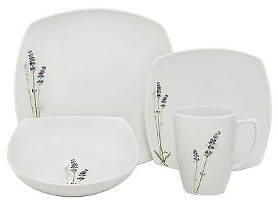 Melange Lavender Square Porcelain 16-Piece Place Setting, Service for 4