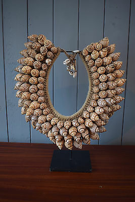 A Papua New Guinea Tribal Shell Necklace with Stand Traditional Ocieanic Art