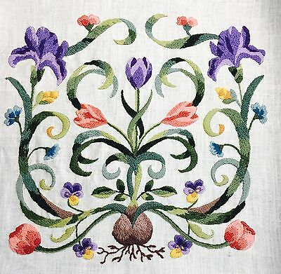 Elsa Williams Mayflower Pillow Crewel Embroidery Linen Pillow Panel Finished
