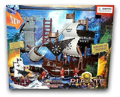Pirate Ship Playset World Govt Boat  Figures Canon Tower & Accessories