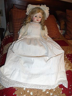 composition doll antique doll 22 w/long gown human hair wig